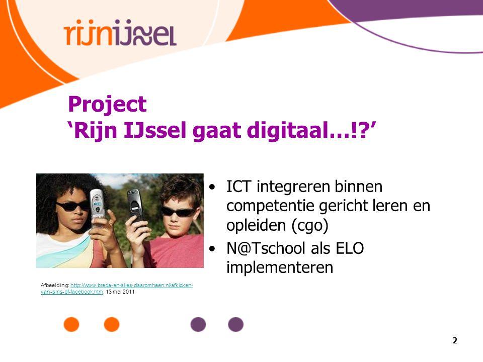 2 Project 'Rijn IJssel gaat digitaal…!?' ICT integreren binnen competentie gericht leren en opleiden (cgo) N@Tschool als ELO implementeren Afbeelding: http://www.breda-en-alles-daaromheen.nl/afkicken- van-sms-of-facebook.htm, 13 mei 2011http://www.breda-en-alles-daaromheen.nl/afkicken- van-sms-of-facebook.htm