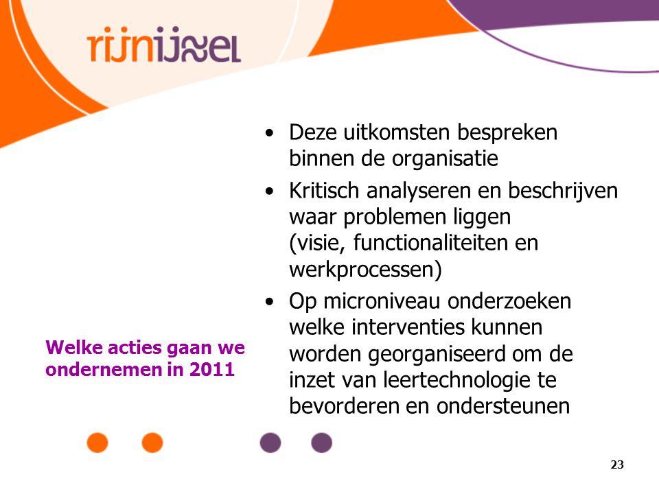 Welke acties gaan we ondernemen in 2011 Deze uitkomsten bespreken binnen de organisatie Kritisch analyseren en beschrijven waar problemen liggen (visi