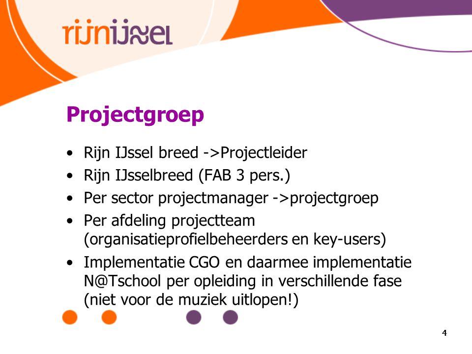 Projectgroep Rijn IJssel breed ->Projectleider Rijn IJsselbreed (FAB 3 pers.) Per sector projectmanager ->projectgroep Per afdeling projectteam (organisatieprofielbeheerders en key-users) Implementatie CGO en daarmee implementatie N@Tschool per opleiding in verschillende fase (niet voor de muziek uitlopen!) 4