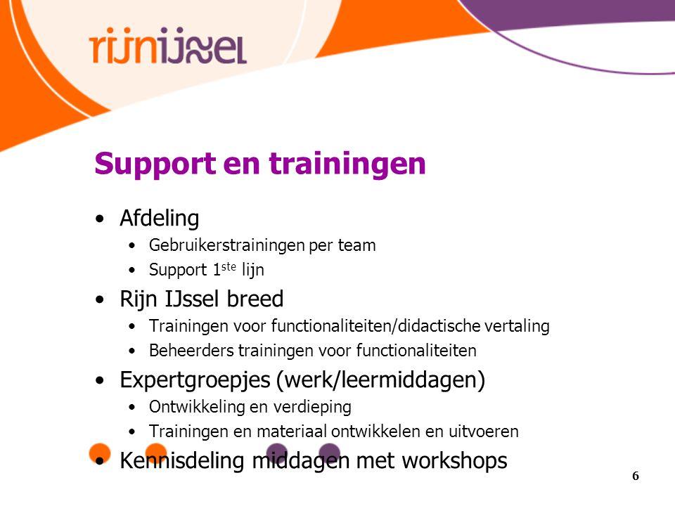 Support en trainingen Afdeling Gebruikerstrainingen per team Support 1 ste lijn Rijn IJssel breed Trainingen voor functionaliteiten/didactische vertal