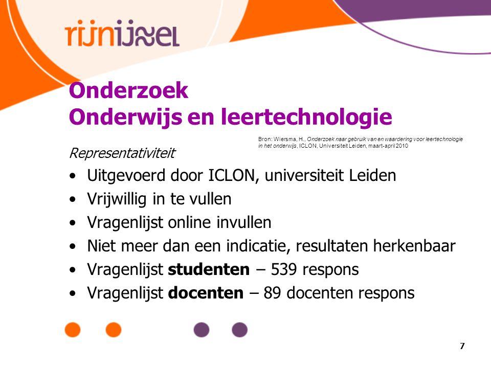 Onderzoek Onderwijs en leertechnologie Representativiteit Uitgevoerd door ICLON, universiteit Leiden Vrijwillig in te vullen Vragenlijst online invull