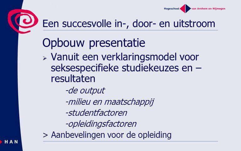 Een succesvolle in-, door- en uitstroom Opbouw presentatie  Vanuit een verklaringsmodel voor seksespecifieke studiekeuzes en – resultaten -de output