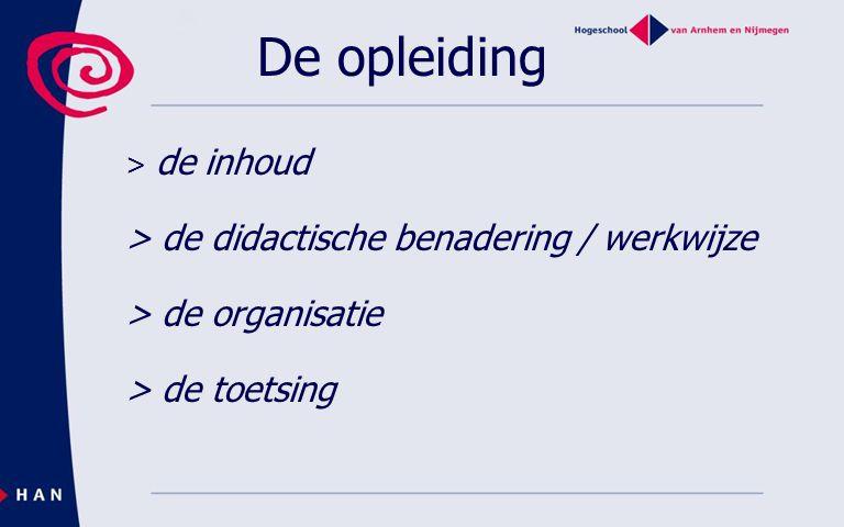De opleiding > de inhoud > de didactische benadering / werkwijze > de organisatie > de toetsing