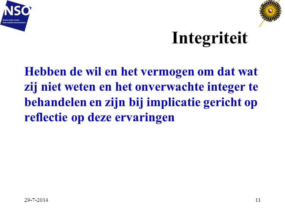 Integriteit Hebben de wil en het vermogen om dat wat zij niet weten en het onverwachte integer te behandelen en zijn bij implicatie gericht op reflect