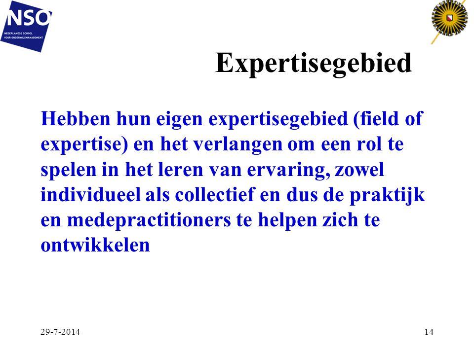 Expertisegebied Hebben hun eigen expertisegebied (field of expertise) en het verlangen om een rol te spelen in het leren van ervaring, zowel individue