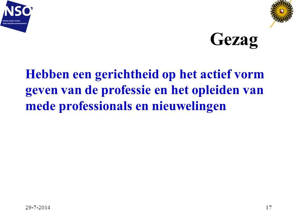 Gezag 29-7-201417 Hebben een gerichtheid op het actief vorm geven van de professie en het opleiden van mede professionals en nieuwelingen