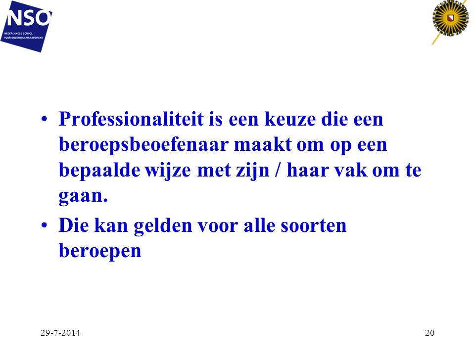Professionaliteit is een keuze die een beroepsbeoefenaar maakt om op een bepaalde wijze met zijn / haar vak om te gaan. Die kan gelden voor alle soort