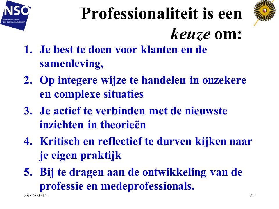 Professionaliteit is een keuze om: 1.Je best te doen voor klanten en de samenleving, 2.Op integere wijze te handelen in onzekere en complexe situaties