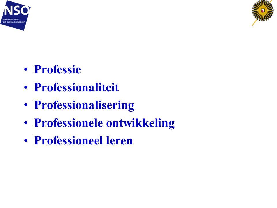 Professie Professionaliteit Professionalisering Professionele ontwikkeling Professioneel leren