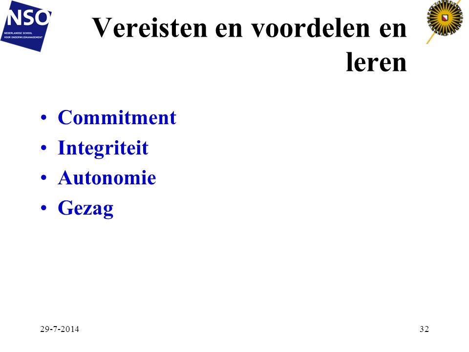 Vereisten en voordelen en leren Commitment Integriteit Autonomie Gezag 29-7-201432