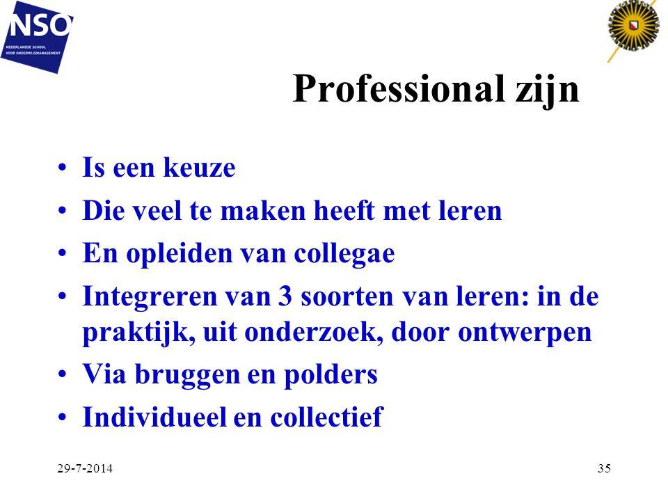 Professional zijn Is een keuze Die veel te maken heeft met leren En opleiden van collegae Integreren van 3 soorten van leren: in de praktijk, uit onde