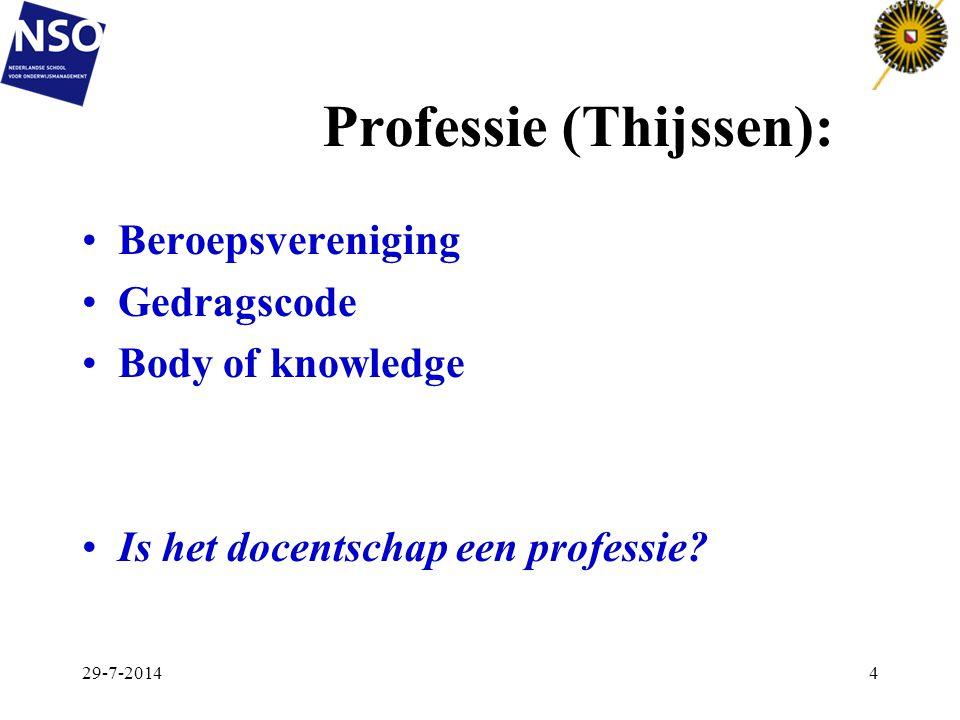 Professie (Thijssen): Beroepsvereniging Gedragscode Body of knowledge Is het docentschap een professie? 29-7-20144