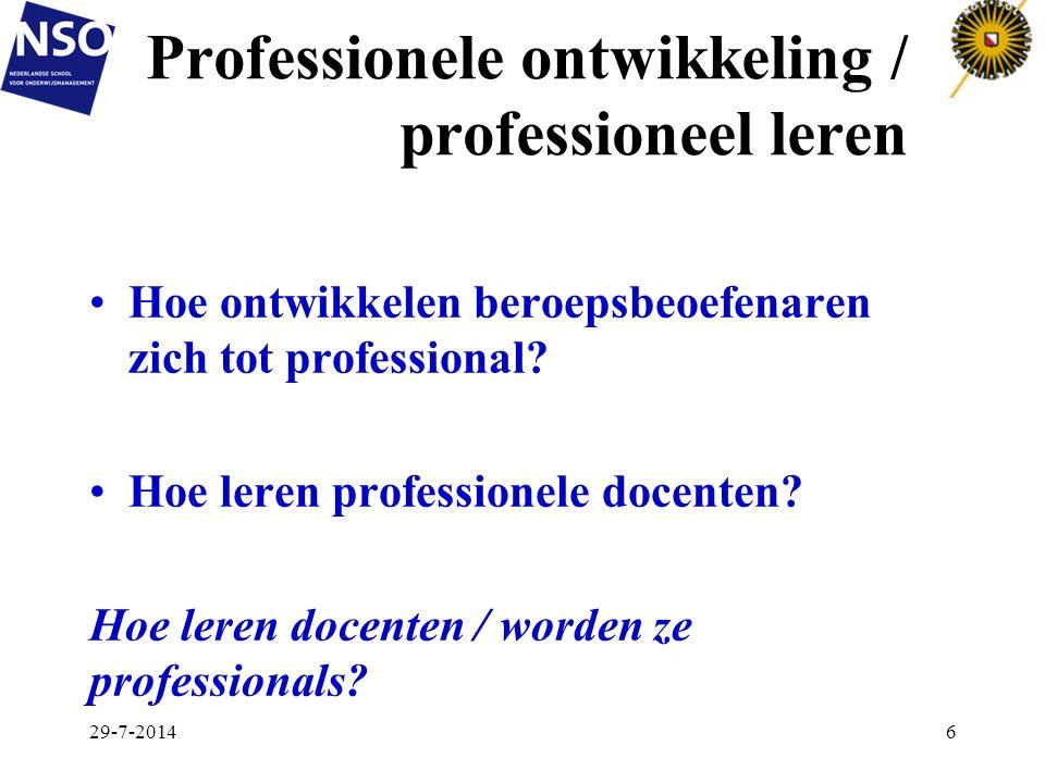 Professionele ontwikkeling / professioneel leren Hoe ontwikkelen beroepsbeoefenaren zich tot professional? Hoe leren professionele docenten? Hoe leren