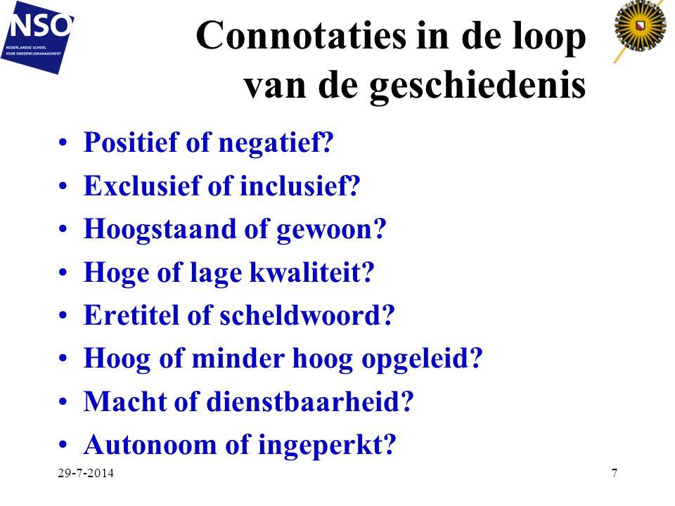Connotaties in de loop van de geschiedenis Positief of negatief? Exclusief of inclusief? Hoogstaand of gewoon? Hoge of lage kwaliteit? Eretitel of sch