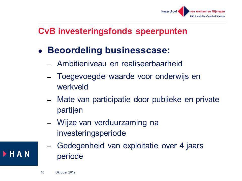 CvB investeringsfonds speerpunten Beoordeling businesscase: – Ambitieniveau en realiseerbaarheid – Toegevoegde waarde voor onderwijs en werkveld – Mat