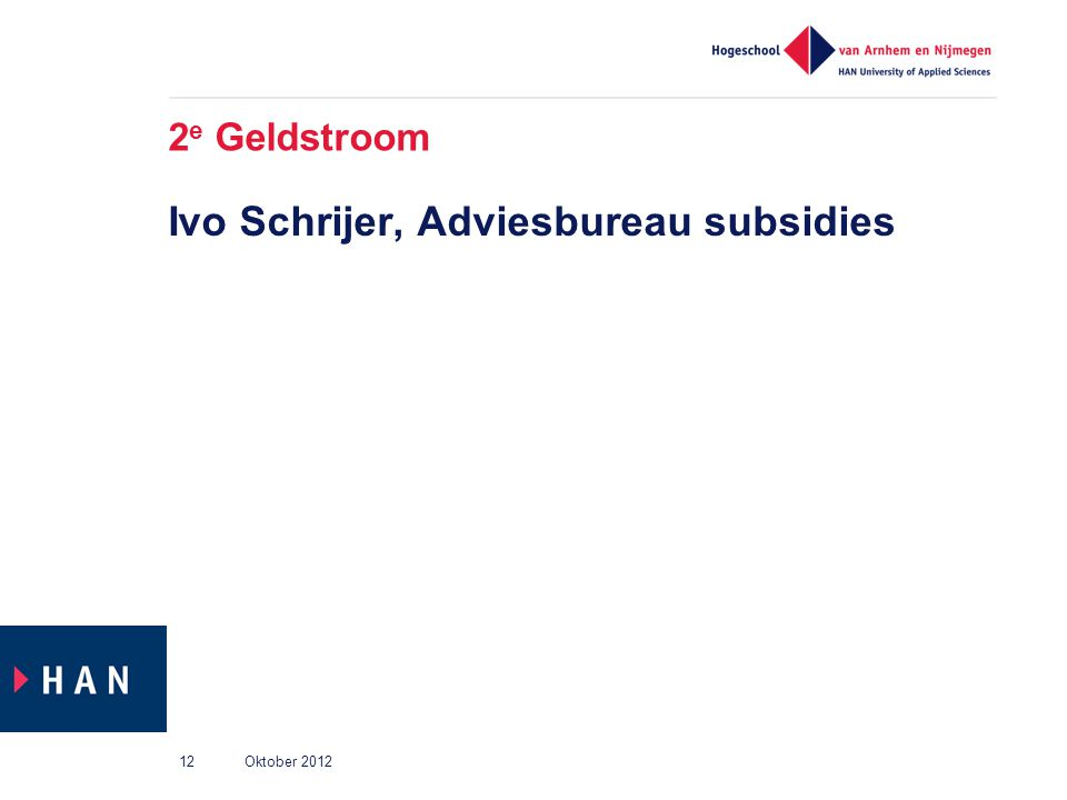 2 e Geldstroom Ivo Schrijer, Adviesbureau subsidies Oktober 201212