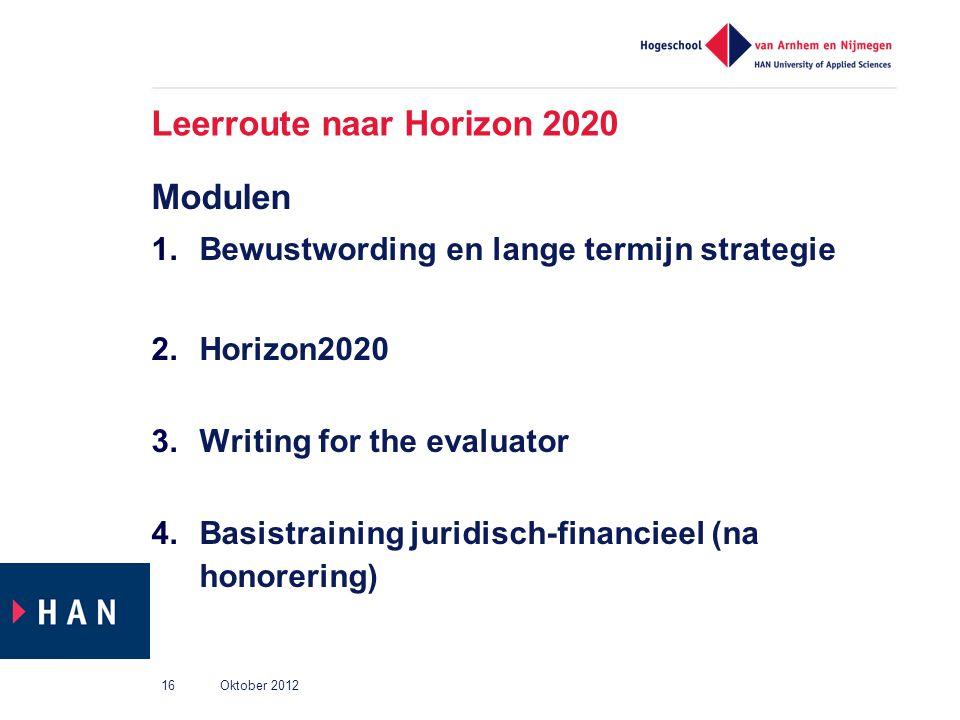 Leerroute naar Horizon 2020 Modulen 1.Bewustwording en lange termijn strategie 2.Horizon2020 3.Writing for the evaluator 4.Basistraining juridisch-fin