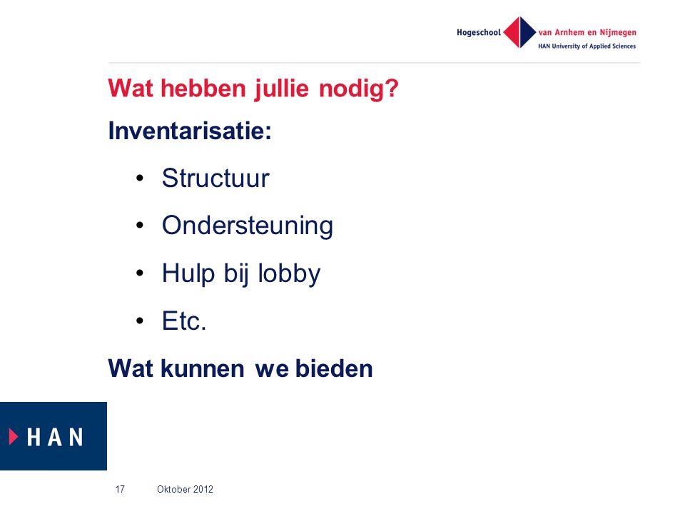 Wat hebben jullie nodig? Inventarisatie: Structuur Ondersteuning Hulp bij lobby Etc. Wat kunnen we bieden Oktober 201217