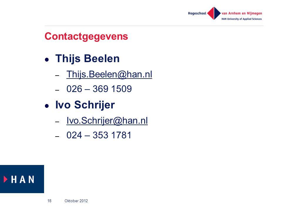Contactgegevens Thijs Beelen – Thijs.Beelen@han.nl Thijs.Beelen@han.nl – 026 – 369 1509 Ivo Schrijer – Ivo.Schrijer@han.nl Ivo.Schrijer@han.nl – 024 –