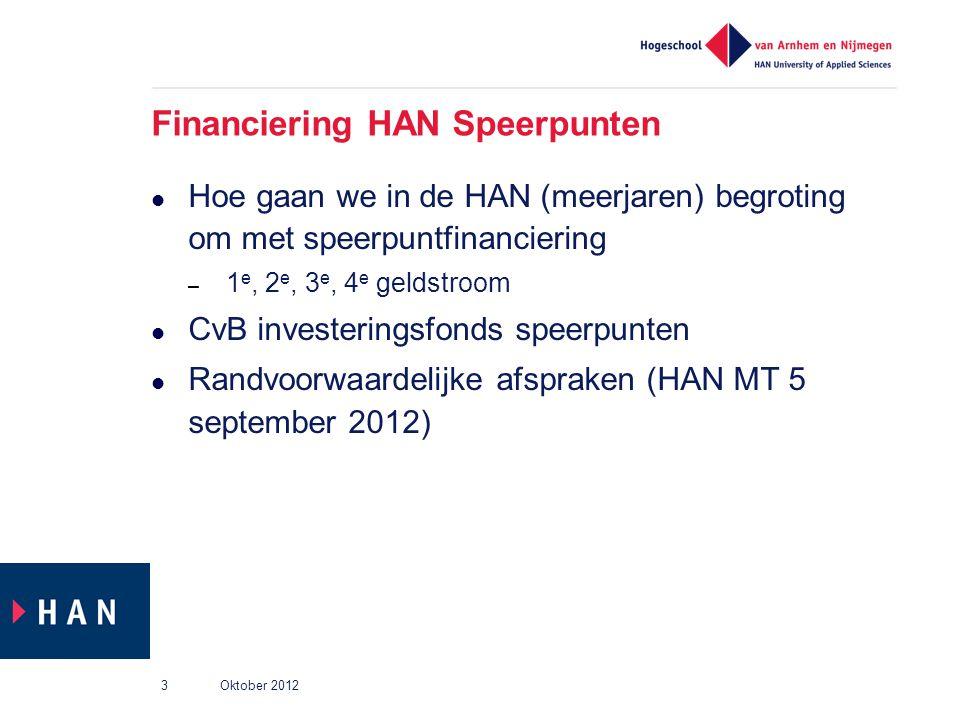 Financiering HAN Speerpunten Hoe gaan we in de HAN (meerjaren) begroting om met speerpuntfinanciering – 1 e, 2 e, 3 e, 4 e geldstroom CvB investerings