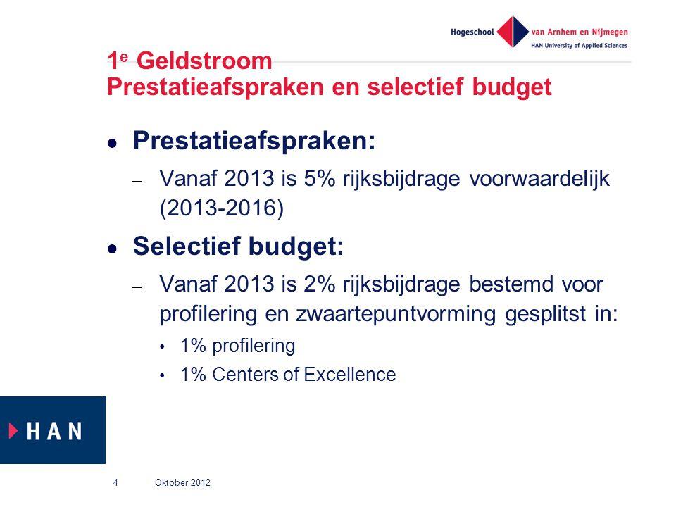 1 e Geldstroom Prestatieafspraken en selectief budget Prestatieafspraken: – Vanaf 2013 is 5% rijksbijdrage voorwaardelijk (2013-2016) Selectief budget