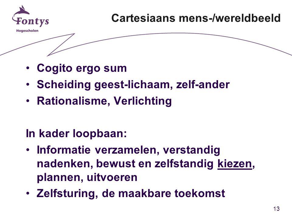 13 Cartesiaans mens-/wereldbeeld Cogito ergo sum Scheiding geest-lichaam, zelf-ander Rationalisme, Verlichting In kader loopbaan: Informatie verzamelen, verstandig nadenken, bewust en zelfstandig kiezen, plannen, uitvoeren Zelfsturing, de maakbare toekomst