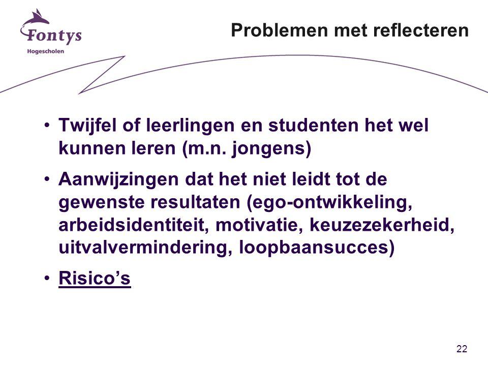 22 Problemen met reflecteren Twijfel of leerlingen en studenten het wel kunnen leren (m.n.