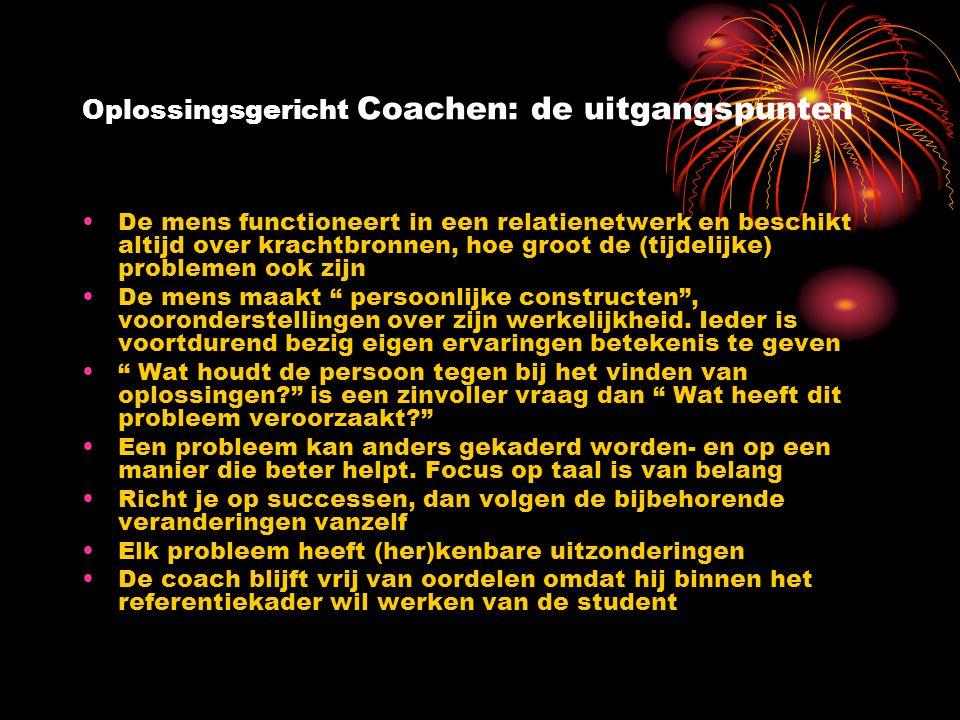 Oplossingsgericht Coachen: de uitgangspunten De mens functioneert in een relatienetwerk en beschikt altijd over krachtbronnen, hoe groot de (tijdelijk