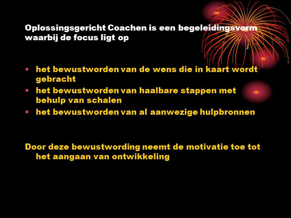 Oplossingsgericht Coachen is een begeleidingsvorm waarbij de focus ligt op het bewustworden van de wens die in kaart wordt gebracht het bewustworden v