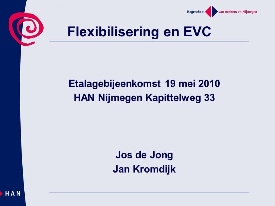 Flexibilisering en EVC Etalagebijeenkomst 19 mei 2010 HAN Nijmegen Kapittelweg 33 Jos de Jong Jan Kromdijk