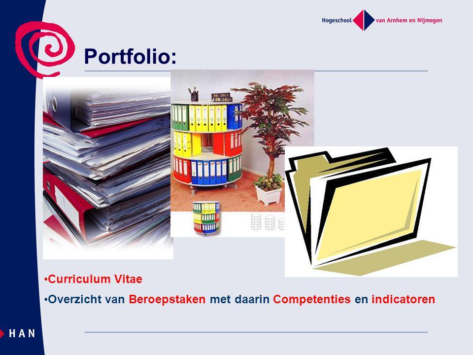 Portfolio: Curriculum Vitae Overzicht van Beroepstaken met daarin Competenties en indicatoren