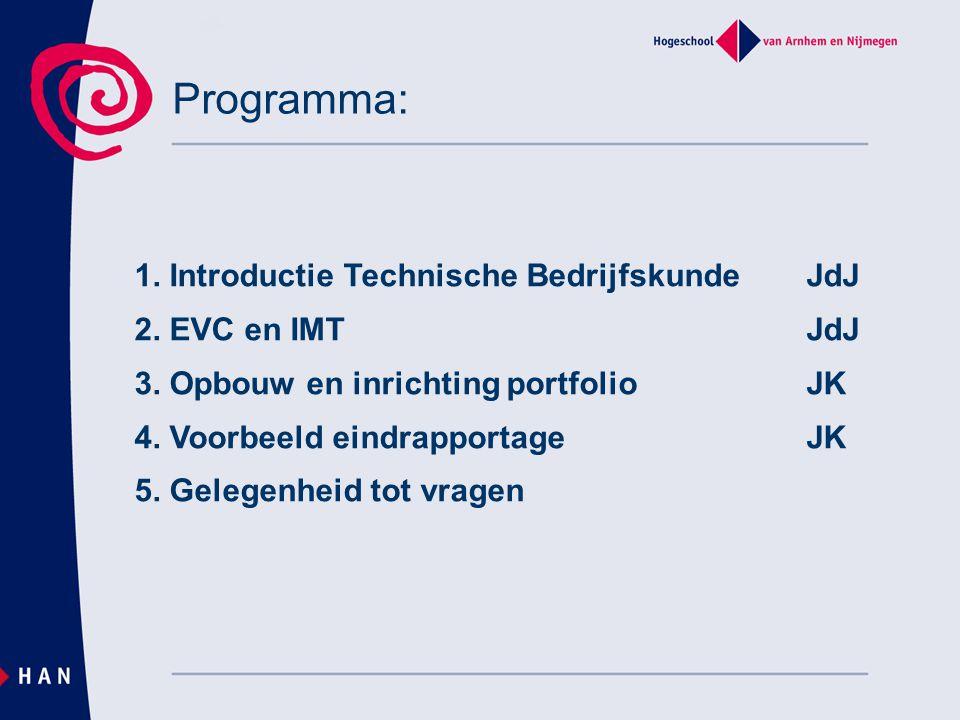 Programma: 1. Introductie Technische BedrijfskundeJdJ 2. EVC en IMT JdJ 3. Opbouw en inrichting portfolioJK 4. Voorbeeld eindrapportageJK 5. Gelegenhe