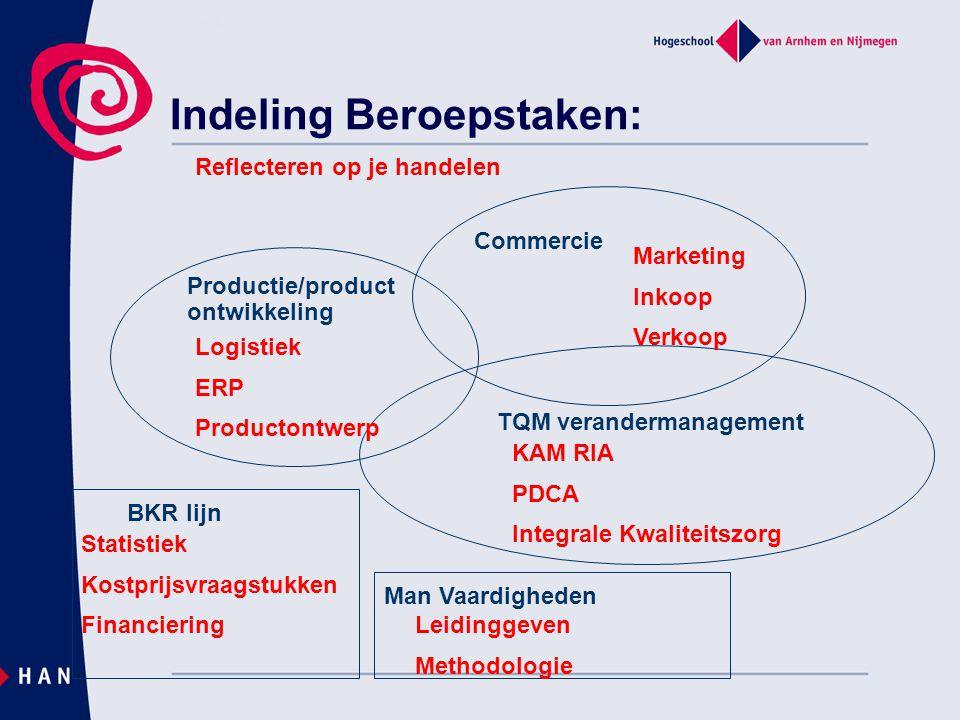 Indeling Beroepstaken: Commercie Productie/product ontwikkeling TQM verandermanagement Marketing Inkoop Verkoop BKR lijn Logistiek ERP Productontwerp