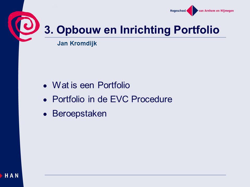 3. Opbouw en Inrichting Portfolio Wat is een Portfolio Portfolio in de EVC Procedure Beroepstaken Jan Kromdijk