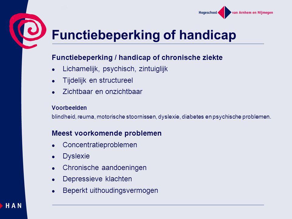 Functiebeperking / handicap of chronische ziekte Lichamelijk, psychisch, zintuiglijk Tijdelijk en structureel Zichtbaar en onzichtbaar Voorbeelden bli