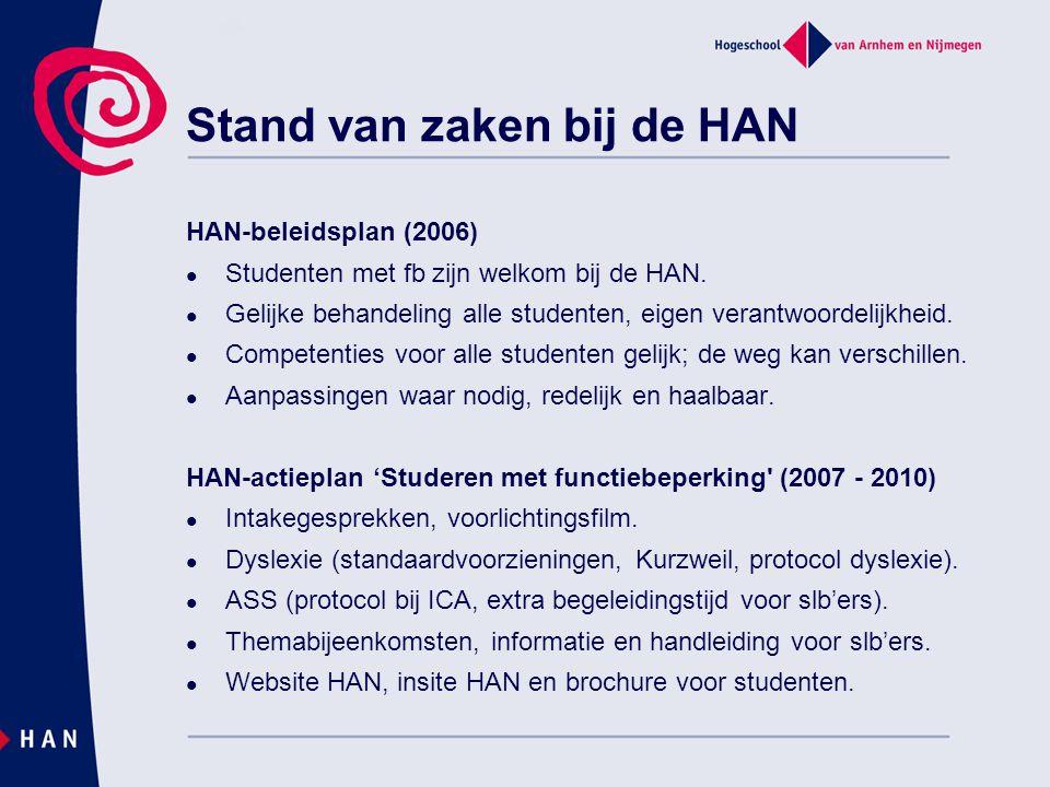 HAN-beleidsplan (2006) Studenten met fb zijn welkom bij de HAN. Gelijke behandeling alle studenten, eigen verantwoordelijkheid. Competenties voor alle