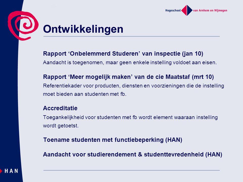 Rapport 'Onbelemmerd Studeren' van inspectie (jan 10) Aandacht is toegenomen, maar geen enkele instelling voldoet aan eisen. Rapport 'Meer mogelijk ma