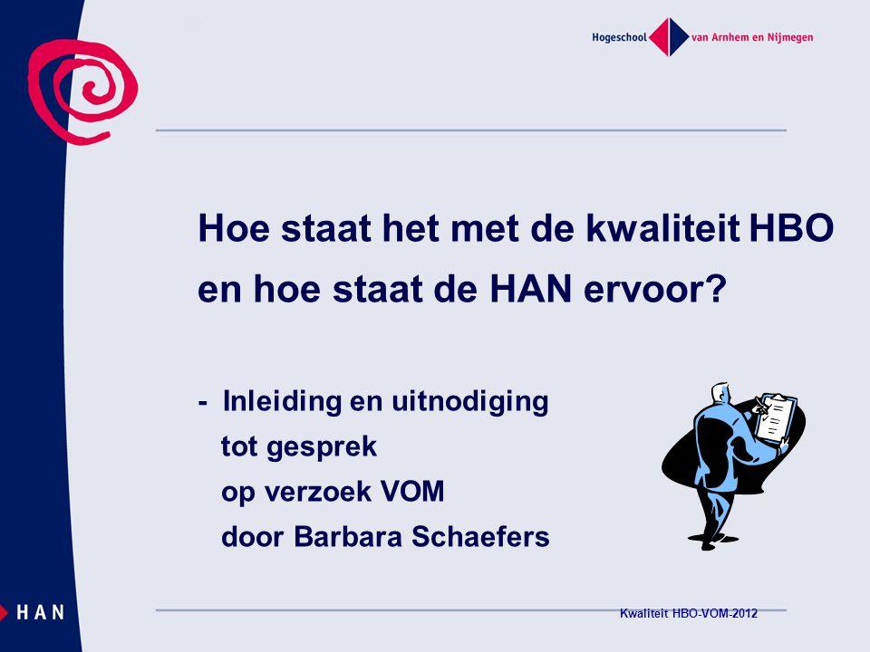 Hogeschool van Arnhem en Nijmegen Kwaliteit HBO-VOM-2012