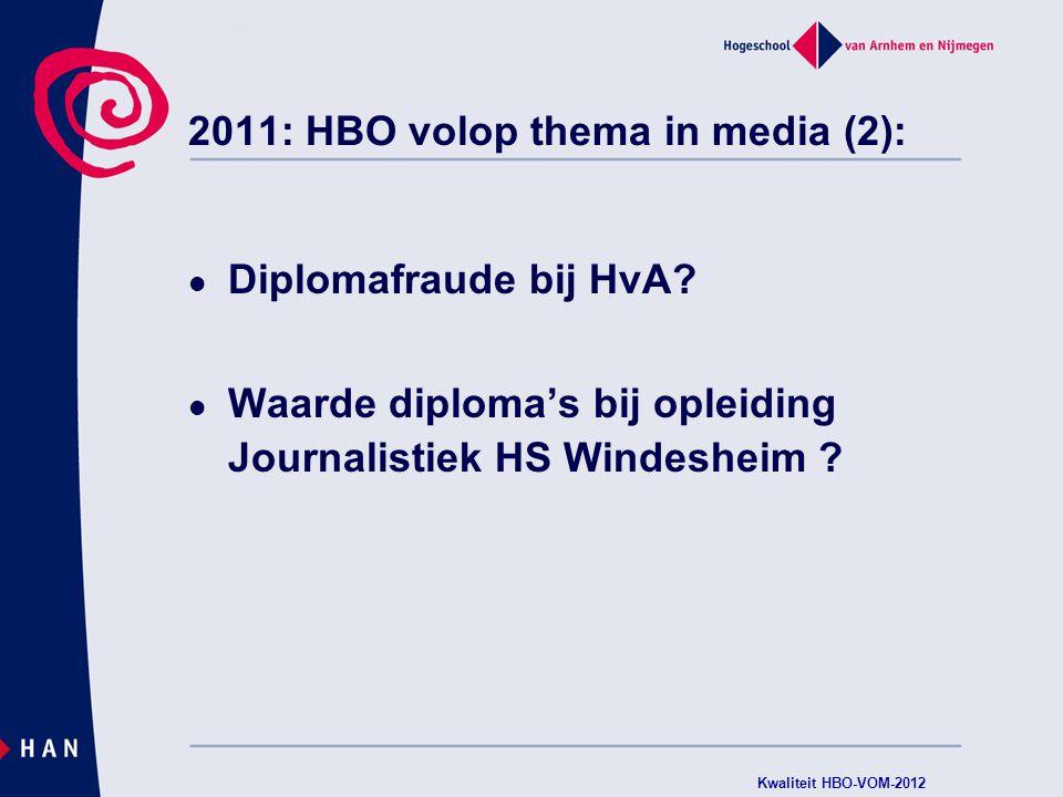 2011: HBO volop thema in media: Inholland: bijna kwart van alle studenten onterecht diploma Alternative afstudeerroute langstudeerders Inspectie stelt zorgelijke opleidingen vast Ook een opleiding HAN genoemd (inmiddels geaccrediteerd) Kwaliteit HBO-VOM-2012