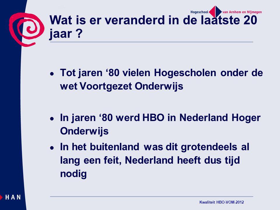 Twijfels aan (niveau van) het HBO in Nederland niet nieuw: Onderwijsraad ( 2010 ) Veerman ( 2010) en  Wettelijke maatregelen (2010) Examencommissies en medezeggenschap Kwaliteit HBO-VOM-2012