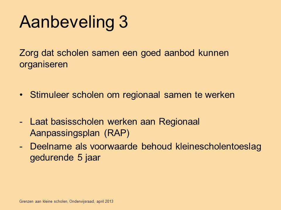 Grenzen aan kleine scholen, Onderwijsraad, april 2013 Aanbeveling 3 Stimuleer scholen om regionaal samen te werken -Laat basisscholen werken aan Regionaal Aanpassingsplan (RAP) -Deelname als voorwaarde behoud kleinescholentoeslag gedurende 5 jaar Zorg dat scholen samen een goed aanbod kunnen organiseren