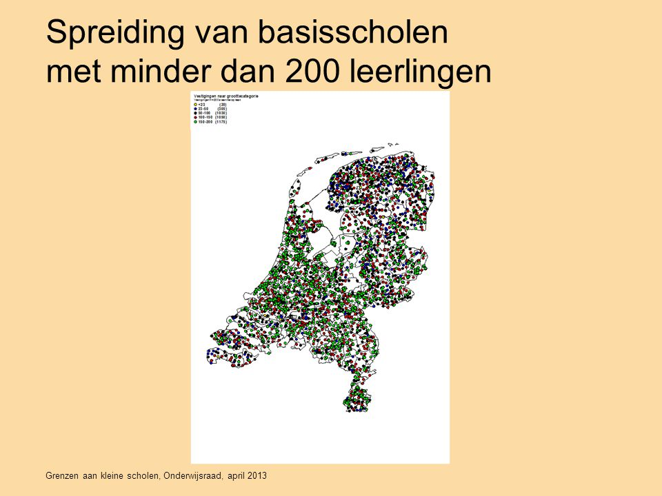 Spreiding van basisscholen met minder dan 200 leerlingen Grenzen aan kleine scholen, Onderwijsraad, april 2013