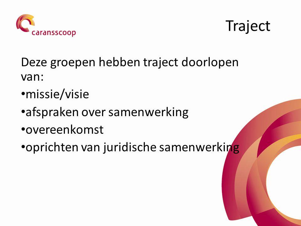 Traject Deze groepen hebben traject doorlopen van: missie/visie afspraken over samenwerking overeenkomst oprichten van juridische samenwerking