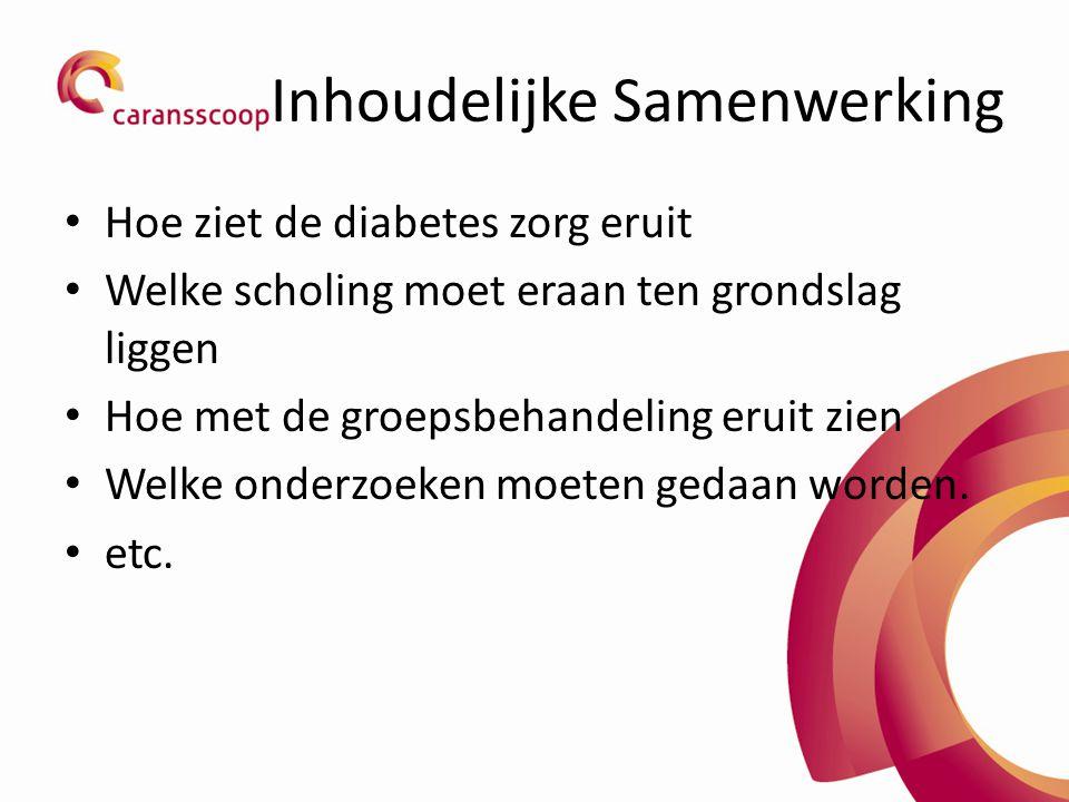 Inhoudelijke Samenwerking Hoe ziet de diabetes zorg eruit Welke scholing moet eraan ten grondslag liggen Hoe met de groepsbehandeling eruit zien Welke