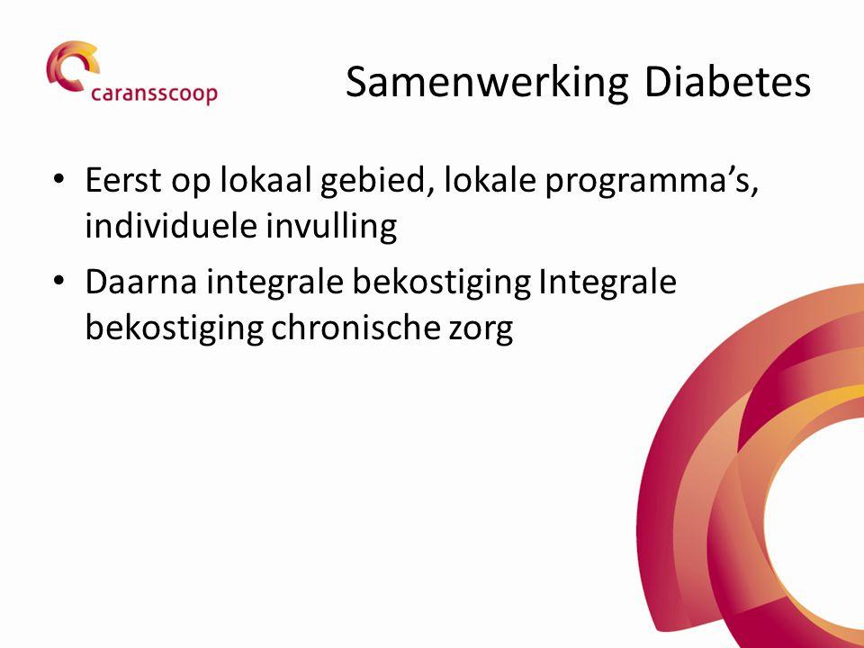 Samenwerking Diabetes Eerst op lokaal gebied, lokale programma's, individuele invulling Daarna integrale bekostiging Integrale bekostiging chronische