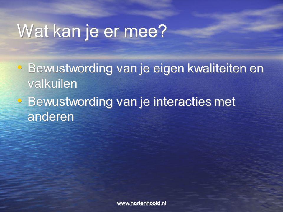 www.hartenhoofd.nl Wat kan je er mee? Bewustwording van je eigen kwaliteiten en valkuilen Bewustwording van je interacties met anderen Bewustwording v