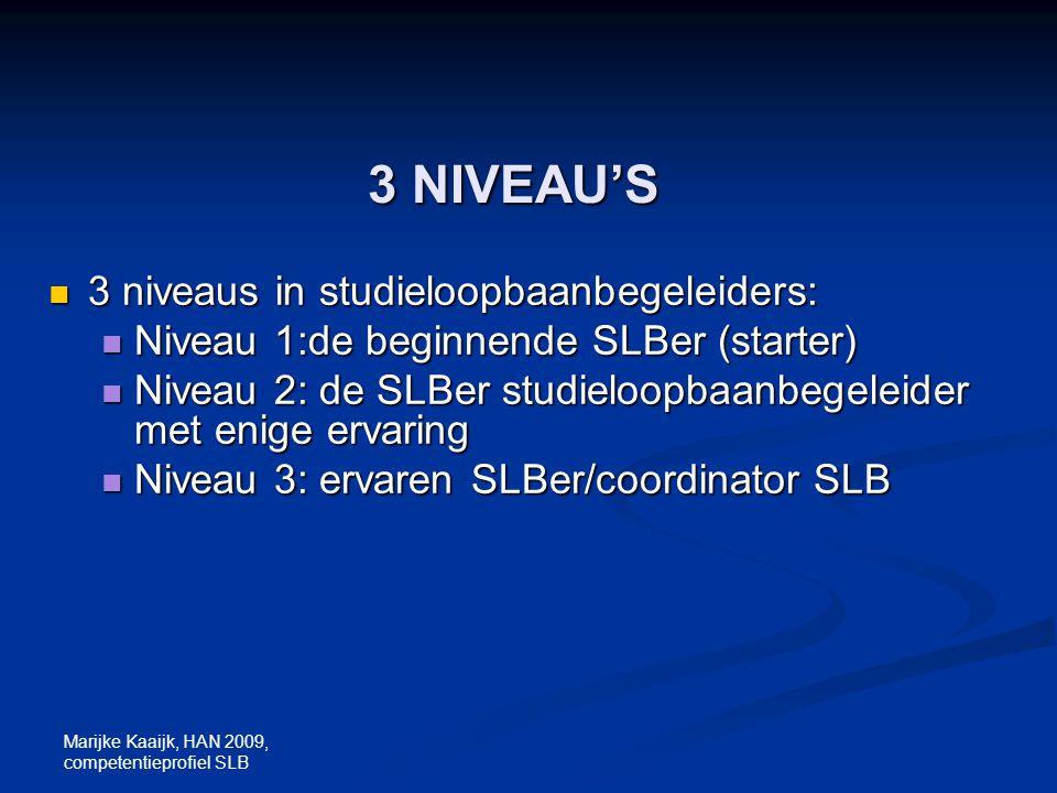 Marijke Kaaijk, HAN 2009, competentieprofiel SLB 3 NIVEAU'S 3 niveaus in studieloopbaanbegeleiders: 3 niveaus in studieloopbaanbegeleiders: Niveau 1:d