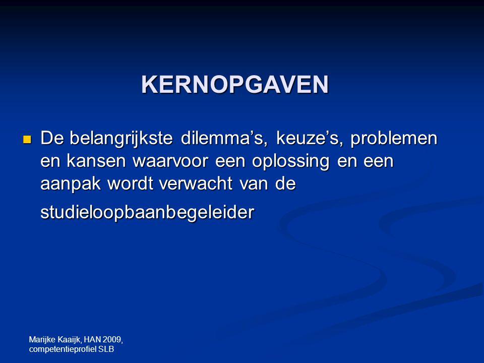 Marijke Kaaijk, HAN 2009, competentieprofiel SLB KERNOPGAVEN De belangrijkste dilemma's, keuze's, problemen en kansen waarvoor een oplossing en een aa