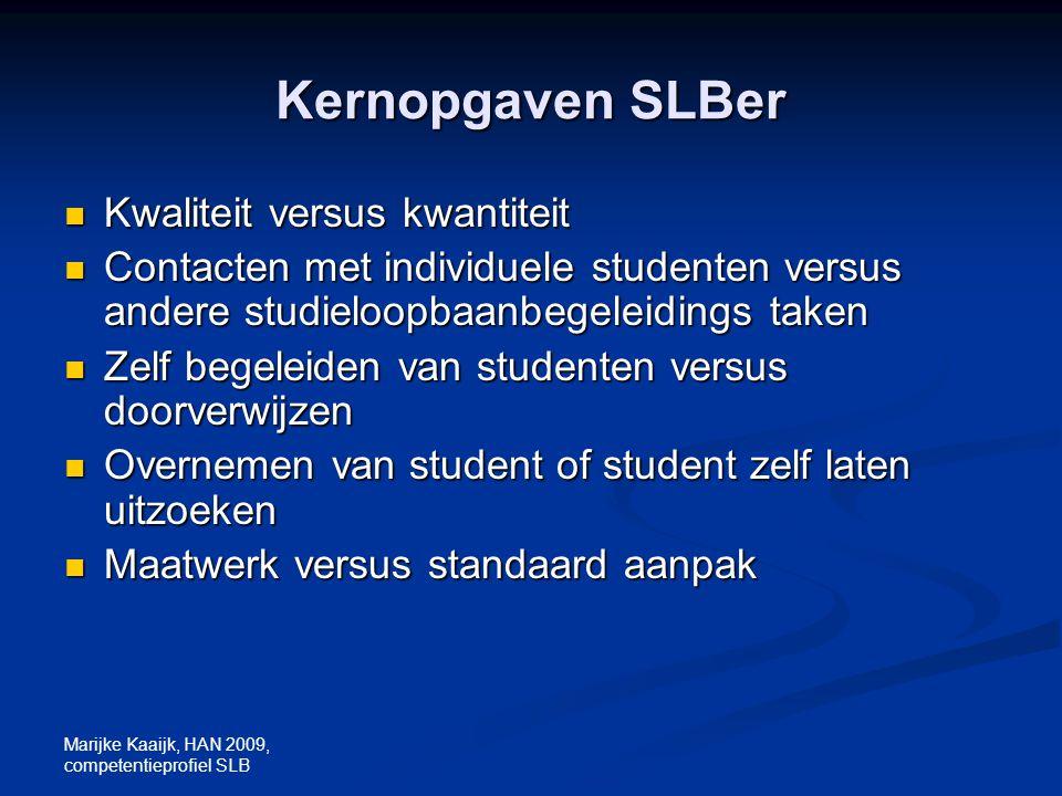 Marijke Kaaijk, HAN 2009, competentieprofiel SLB Kernopgaven SLBer Kwaliteit versus kwantiteit Kwaliteit versus kwantiteit Contacten met individuele s