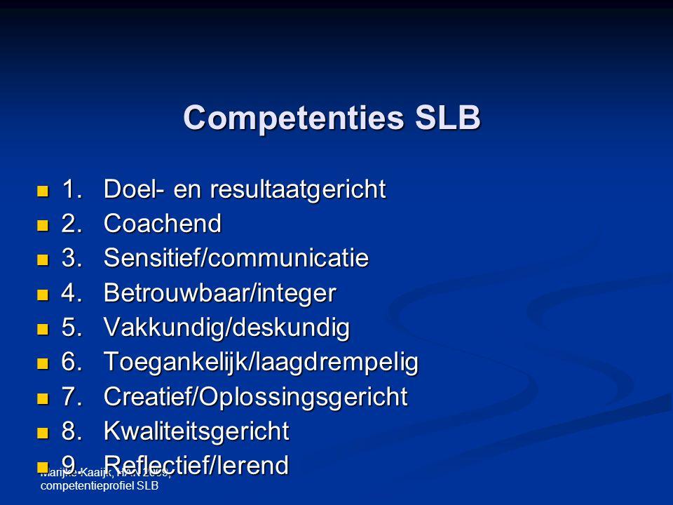 Marijke Kaaijk, HAN 2009, competentieprofiel SLB Competenties SLB 1.Doel- en resultaatgericht 1.Doel- en resultaatgericht 2.Coachend 2.Coachend 3.Sens